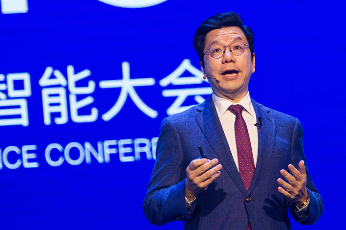 Kai-fu Lee delivers a speech at the World Artificial Intelligence Conference in August 2019 in Shanghai. Photo: VCG