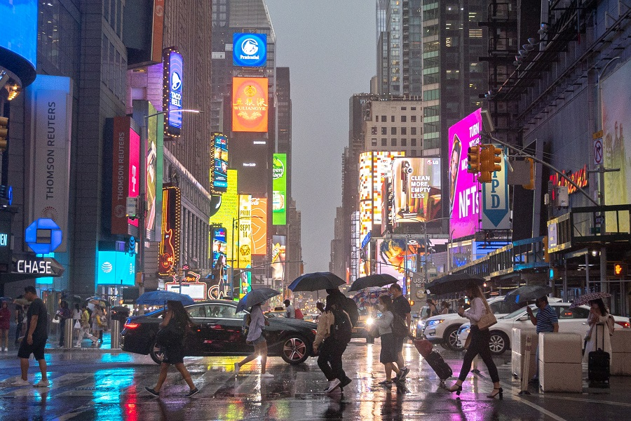 Pedestrians walk through Times Square in New York on July 6. Photo: IC Photo