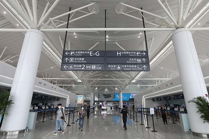 Nanjing has begun testing everyone in Jiangning district after nine workers tested positive for Covid-19 at Nanjing Lukou International Airport. Photo: VCG