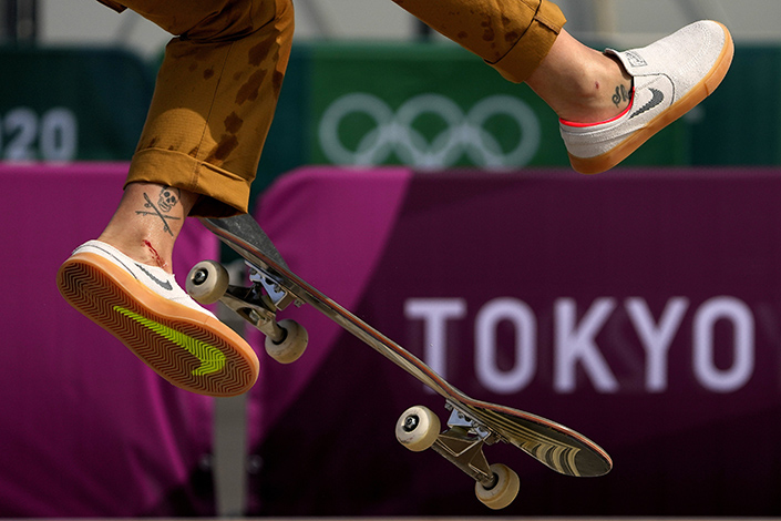 Brazilian Olympic skateboarder Leticia Bufoni practices for the Tokyo Olympics at Ariake Urban Sports Park in Tokyo on Tuesday. Photo: VCG