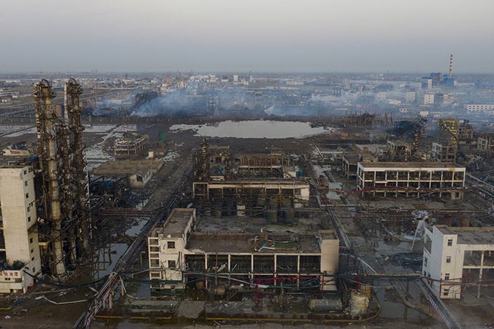 The agency that did the safety assessment for the company involved in an explosion in Xiangshui, East China's Jiangsu province, was accused of having a serious discrepancy between the evaluation report and the actual situation. Photo: Liang Yingfei/Caixin