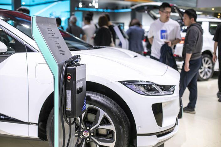 New-energy vehicles sit on display at the 2021 Shanghai Auto Show on April 25. Photo: VCG