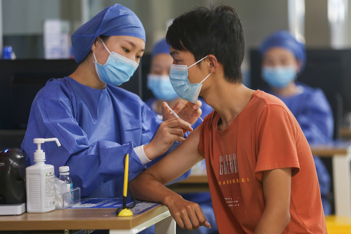 A resident in Nanchang gets a Covid-19 vaccination Aug. 27.
