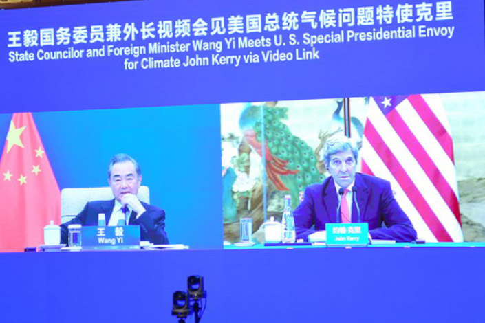 China's Foreign Minister Wang Yi meets U.S. Special Presidential Envoy for Climate John Kerry via video link. Photo: fmprc.gov.cn
