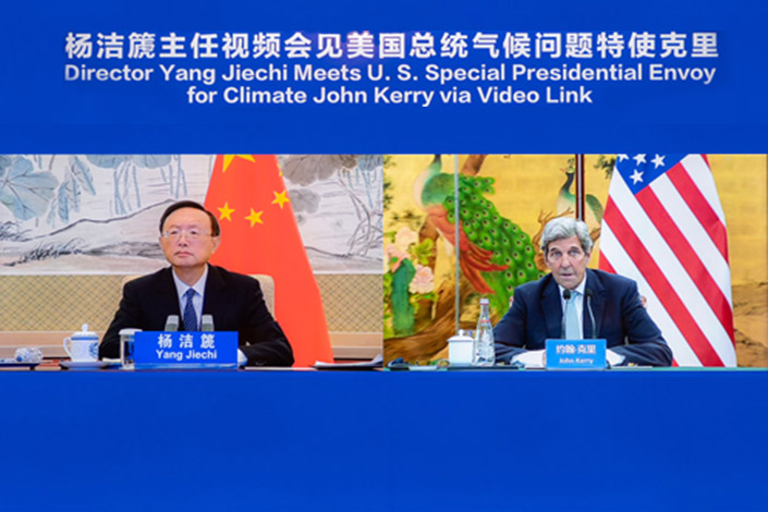 Yang Jiechi, director of the Office of the Central Commission for Foreign Affairs,  meets U.S. Special Presidential Envoy for Climate John Kerry via video link on Thursday. Photo: fmprc.gov.cn