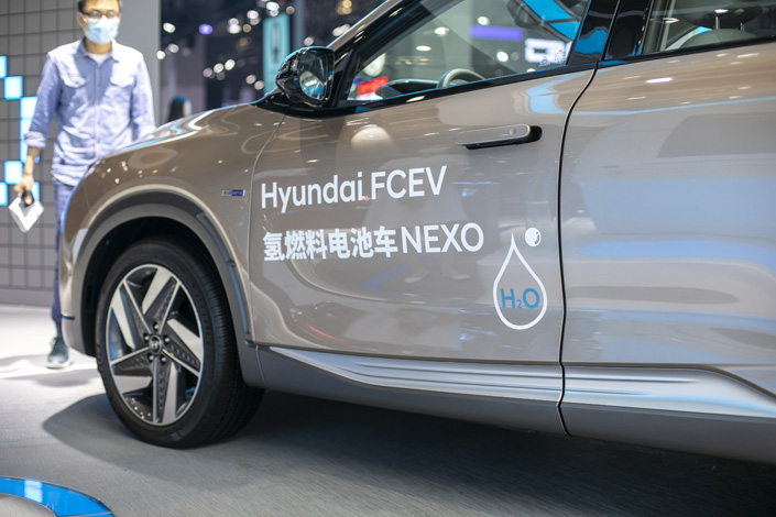 The booth of a hydrogen-fueled vehicle of Beijing-Hyundai, in Shanghai Auto Show on April 28. Photo: VCG