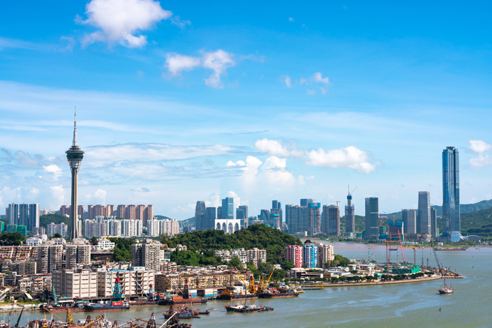 A photo captures part of the Macao skyline with Hengqin in the background on Aug. 23. Photo: VCG
