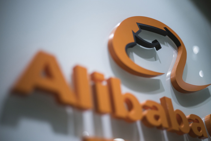 Signage for Alibaba Group is displayed at the company's offices in Hong Kong. Photo: Bloomberg