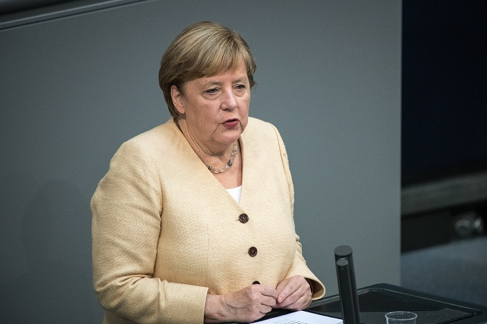 Angela Merkel, Germany's chancellor, speaks in the Bundestag in Berlin, Germany, on Sept. 7. Photo: VCG