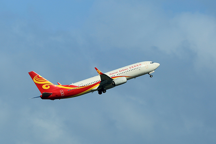A Hainan Airlines plane takes off from an airport in South China's Guangdong province on July 3. Photo: VCG
