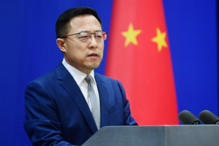 Foreign Ministry spokesman Zhao Lijian speaks at a news briefing in Beijing on Monday. Photo: fmprc.gov.cn