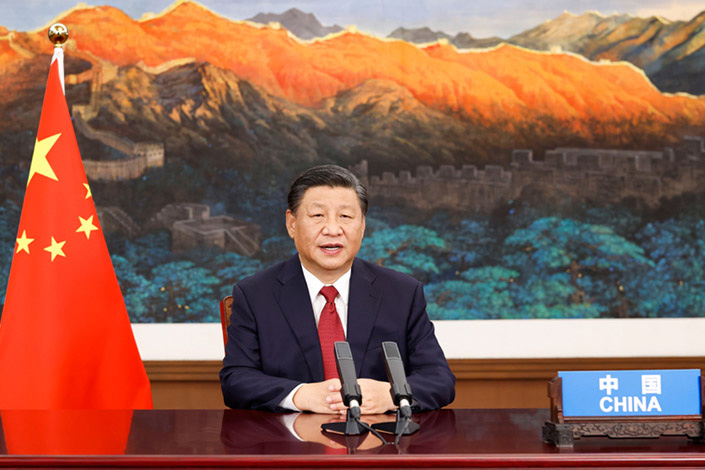 President Xi Jinping speaks at the general debate of the 76th session of the United Nations General Assembly via video in Beijing on Tuesday. Photo: Xinhua