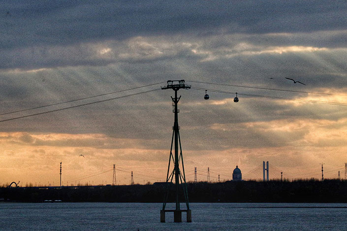 A high-voltage power transmission tower is installed in Harbin, Northeast China's Heilongjiang province, in November 2020. Photo: VCG