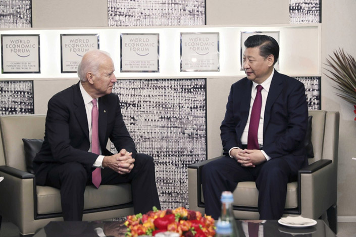 President Xi Jinping meets Joe Biden in Davos, Switzerland, in January 2017. Photo: Xinhua