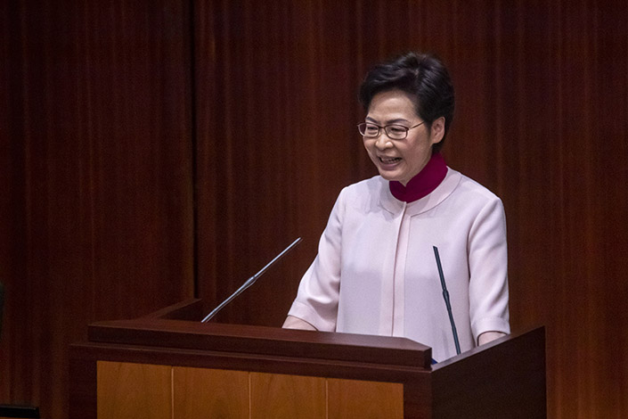 Hong Kong Chief Executive Carrie Lam delivers her annual policy address at the Legislative Council in Hong Kong on Wednesday. Photo: VCG