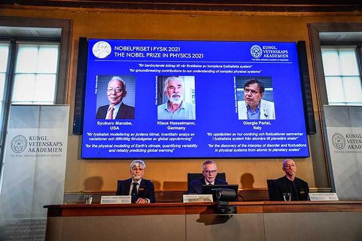 Syukuro Manabe, Klaus Hasselmann and Giorgio Parisi get awarded the 2021 Nobel Prize in physics Tuesday in Stockholm, Sweden. Photo: IC Photo