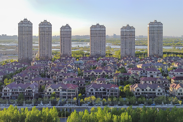Buildings stand along the Songhua River in Harbin, Northeast China's Heilongjiang province, on May 15. Photo: VCG