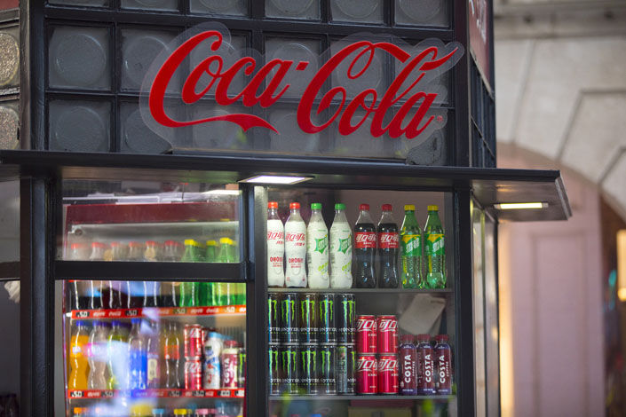 A Coca-Cola beverage cabinet in Shanghai on Sept. 30. Photo: VCG