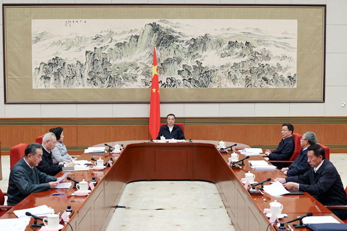 Premier Li Keqiang speaks during a meeting of the National Energy Commission Saturday in Beijing. Photo: gov.cn
