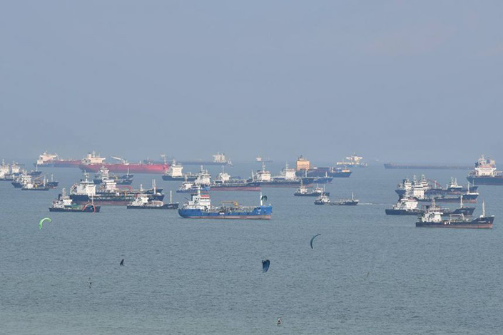 Ships sit anchored off Singapore's East Coast on Tuesday. Photo: The Straits Times