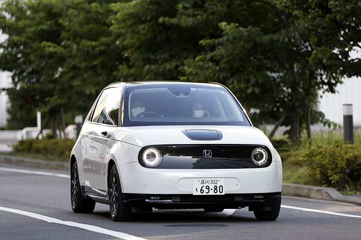A driver takes a Honda e:N Series electric vehicle for a test drive in Tokyo on June 17. Photo: VCG